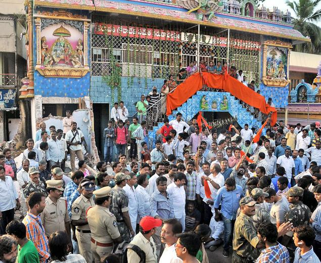 Tension at Chittinagar over demolition of temple wall