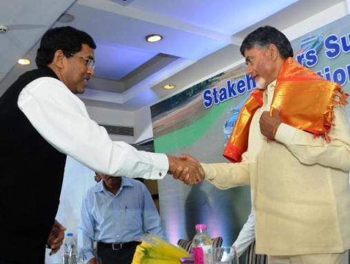 Inland Waterways Authoirty of India Chairman Amitab Varma greeting Chief Minister N. Chandrababu Naidu at a stakeholders' summit in Vijayawada on Thursday.